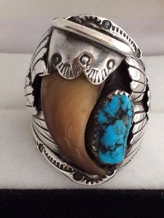 Navajo Begay Old Pawn Bear Claw Mens Sterling Silver Matrix Turquoise Nugget Handcrafted by Well Known Artist M. Begay Ring is a Large