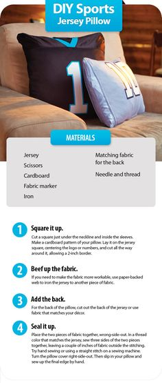 DIY: Sew a well-worn sports jersey into a fun decorative pillow in four simple steps. #home #decor