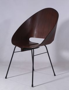 Four Molded Plywood Stacking Chairs Attributed to Vittorio Nobili, Italy 1950 | From a unique collection of antique and modern side chairs at https://www.1stdibs.com/furniture/seating/side-chairs/