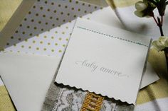 vintage invitations. love the fabric and simple stitching along the top.
