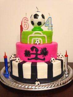 Soccer and cheerleader cake