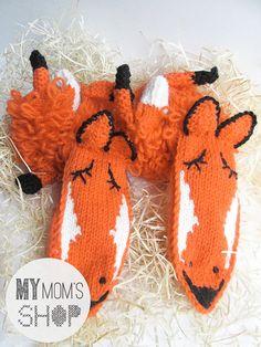 knee high socks // foxes socks // animal socks // by mymomsshop1, $130.00