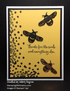 Stampin' Up! Dragonfly Dreams set, Detailed Dragonfly Thinlits Dies, Copper Foil Sheets, Basic Black and Daffodil Delight cardstock and ink.