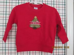 Christmas tree sweatshirt-personalized for kids by platopooch