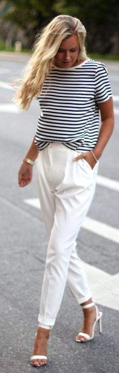 White Dressed-up Pants with Black and White Striped T-Shirt #It Girl