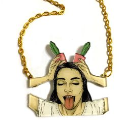 Girl with tongue out and Cactus Planter, Funky Necklace, Cool and Fun... ($25) ❤ liked on Polyvore featuring jewelry, necklaces, pink statement necklace, gold statement necklace, green gold necklace, statement necklaces and gold charm necklace