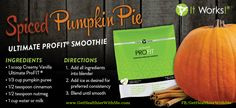 Spiced Pumpkin Pie smoothie recipe with the awesome ProFit protein shake from ItWorks! purchase it at www.julieGwrap.myitworks.com !