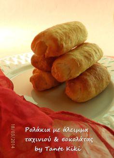 Tante Kiki: Ρολάκια αρωματικής ζύμης με σοκολατένιο άλειμμα Truffles, Sweet Potato, Deserts, Sweets, Bread, Vegan, Lent, Vegetables, Cooking