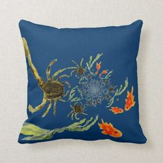 Shop Rock Pool Crabs and Funny Fish Seaside Throw Pillow created by AnnabelsAbstract. Seaside Art, Seaside Theme, Funny Fish, Fish Swimming, Rock Pools, Sea Fish, Fishing Humor, Crabs, Custom Pillows