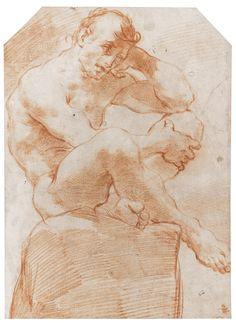 Ubaldo Gandolfi: (San Matteo Della Decima, Near Bologna 1728 - 1781 Ravenna) - Academy Study: Nude Man Seated On A Boulder - Red chalk, upper corners cut - Dim: 382 by 277 mm; 15 by 11 in. Human Figure Drawing, Life Drawing, Anatomy Drawing, Anatomy Art, Art Sketches, Art Drawings, Figure Drawings, Sketch Painting, Drawing Poses
