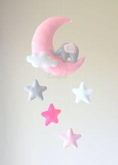 Bambino cellulare elefantino rosa mobile di GiseleBlakerDesigns
