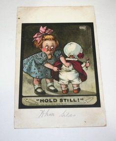 1908 Antique Postcard Hold Still Girl Bonnet Baby Signed August Hutaf Ullman