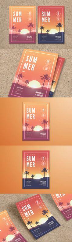 Summer Party Flyer Template AI, PSD - A4