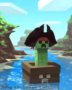 The minecraft creeper pirate by Zedig.deviantart.com
