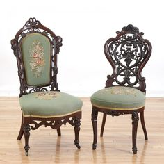 Lot: (2) American Rococo laminated rosewood chairs, Lot Number: 3340, Starting Bid: $150, Auctioneer: Millea Bros Ltd, Auction: ANTIQUES & MODERN > Day 3 of 3, Date: April 16th, 2016 HST