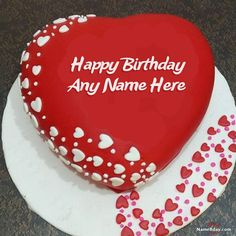 Too Romantic Birthday Cake For Wife With Name And Photo Heart Happy