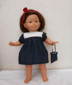 Robe pour poupée de 36 cm - MCL Poupées Dream Catcher, Boutique, Summer Dresses, Dolls, Point, Fashion, Antique Toys, Navy Blue Gown, Dress Red
