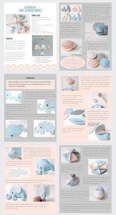 DIY Baby Elephant Mobile Felt Pattern Nursery Decor by GinnyPenny