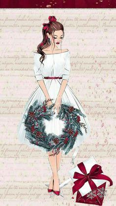 She's so pretty! She's so pretty! Christmas Drawing, Christmas Art, Christmas And New Year, Winter Christmas, Vintage Christmas, Xmas, Illustration Noel, Christmas Illustration, Illustrations
