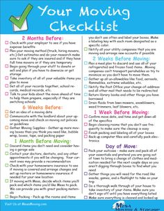 The Best Moving Checklist - Print out and enjoy or take a screenshot to have on your phone