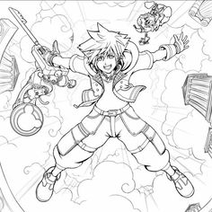 Kaito, Sora And Kairi, Kingdom Hearts Games, Cowboy Bebop, Sketch Inspiration, Vanitas, Character Art, Manga, Coloring Pages