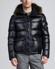 Moncler Hubert Fur Trim Hood Jacket, Navy