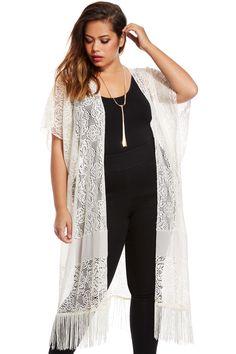 Long & lovely lace fringe kimono from Fashion to Figure. http://www.pjtra.com/t/QT1GRUBAPUNGSEI9RkVAQA?url=http%3A%2F%2Fwww.fashiontofigure.com%2Fkaryn-lace-fringe-plus-size-kimono.html