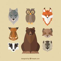 Flat avatars of wild animals Free Vector Animal Paintings, Animal Drawings, Animals Tattoo, Avatar, Pokemon, Animal Graphic, Paper Animals, Animal Masks, Tropical Art