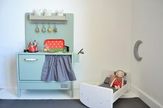 Wooden toy kitchen and crib. #woodentoy #woodencrib #woodenkitchen…
