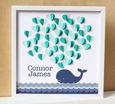 Whale Baby Shower Guest Book Nautical Baby