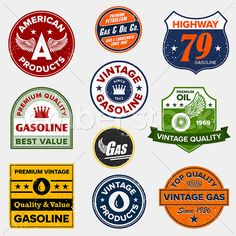 Buy Vintage gas signs by emberstudio on GraphicRiver. Set of retro vintage gas signs and labels. Includes and JPG files. These files are vector based files an. Retro Vintage, Vintage Tin Signs, Vintage Labels, Vintage Images, Vintage Biker, Vintage Racing, Vintage Cars, Vintage Style, Pompe A Essence