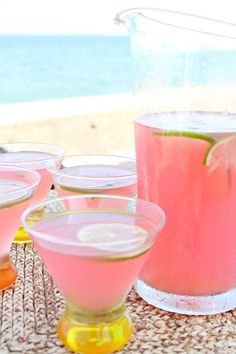 Beach House Cosmos 4 cups prepared limeade 2 cups vodka 1 cup cranberry juice…