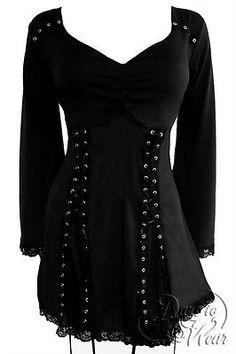Gothic ELECTRA Stretch Corset Style Top RAVEN BLACK Size 10/12 - 26/28 PLUS SIZE