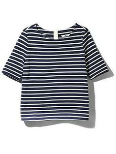 Three Dots Nautical French Terry Stripe Top | Piperlime
