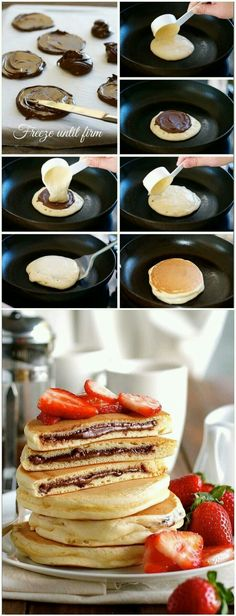Nutella Stuffed Pancakes food breakfast nutella dessert recipe recipes pancakes breakfast recipes food tutorials The Effective Pictures We Offer You About baking desserts fancy A quality picture can t Baking Recipes, Snack Recipes, Dessert Recipes, Salad Recipes, Pancakes Nutella, Chocolate Pancakes, Nutella Breakfast, Nutella Snacks, Fluffy Pancakes