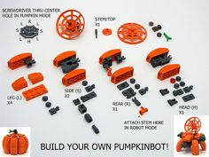Lego Jack-o-lantern Chris Maddison's Lego Pumpkinbot Instructions. A custom creation of a ball drone in the shape of a pumpkin, and it opens up into a robot with a radar dish and cannons. Lego Mecha, Moc Lego, Minifigura Lego, Robot Lego, Lego Bots, Lego Craft, Robots, Lego Bionicle, Lego Batman