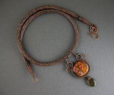 kazuri bead pendant neckalce with tube beads | Week 35-Copper Viking Knit with Kazuri Pendant