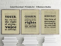 Black's Law Print Set - Voter - Citizen - Democracy - Special Occasion - Holiday Gift Ideas - 4th of July - Lawyer Gift - Gifts for Lawyers Law Office Decor, Lawyer Gifts, Georgetown University, School Gifts, Citizen, Printable Art, Holiday Gifts, Favorite Quotes, Special Occasion