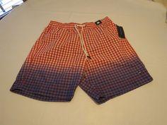 Mens swim trunks board shorts Tommy Hilfiger small poppy red 637 checks 7869679 #TommyHilfiger #Trunks