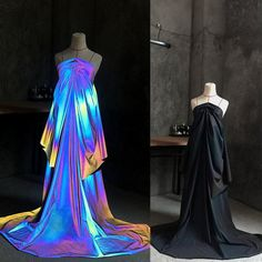 1 Yard 4-Way Stretch Dark Reflective Fabric,Iridescent Rainbow Fabric,Spandex Nylon Knit Fabric,Desi