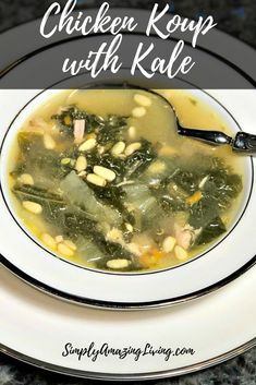 The best chicken with kale soup recipe out there!  So delicious and easy to make! #yum #recipe #chickenrecipe #chickensoup #kale #kalerecipe #simplyamazingliving