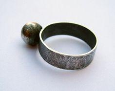 Silver ball.sterling silver ring dark  statement ring with large silver ball rustic  ring silversmith