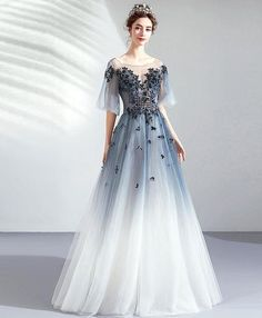 Buy A Line Half Sleeves Tulle Long Ombre Prom Dress with Appliques Blue Evening Dresses online.Shop short long ombre prom, homecoming, bridesmaid evening dresses at Couture Candy Cocktail party dresses, formal ball gowns in ombre colors. Ombre Prom Dresses, Prom Dresses With Sleeves, Cheap Prom Dresses, Ball Dresses, Ball Gowns, Sleeve Dresses, Pageant Dresses, Homecoming Dresses, Formal Dresses
