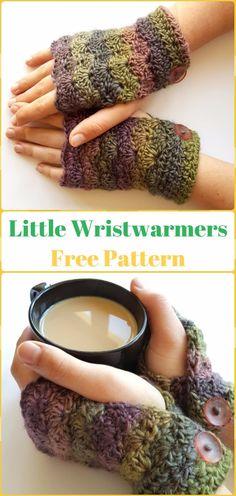 Crochet Nifty Little Wristwarmers Free Pattern - Crochet Arm Warmer Free Patterns