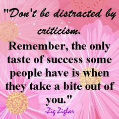 Don't be distracted by criticism.  Remember, the only taste of success some people have is when they take a bite out of  you.  ~Zig Ziglar