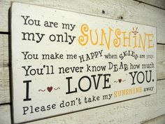 You are my sunshine typography word art wood by AmericanAtHeart, $36.00