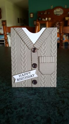 Cable Knit embossing folder by Stampin' Up. For my brother's birthday.