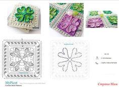 Узоры крючком от MyPicot +ссылка на МК. (пост закрыт) Crochet Stitches Patterns, Crochet Motif, Stitch Patterns, Crochet Afghans, My Picot, Diy And Crafts, Blanket, Creative, Crochet Bags