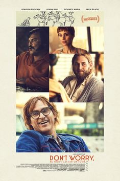 """Official Poster for """"Don't Worry He Won't Get Far on Foot"""" new Gus Van Sant movie with Joaquin Phoenix Jonah Hill Rooney Mara and Jack Black"""