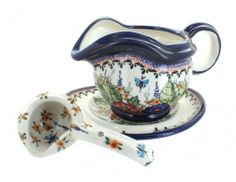 Floral Butterfly Gravy Boat, Plate and Ladle